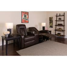 Eclipse Series 2-Seat Reclining Brown LeatherSoft Theater Seating Unit with Cup Holders