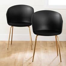 Dining Chair with Metal Legs - Set of 2 - Black and Gold