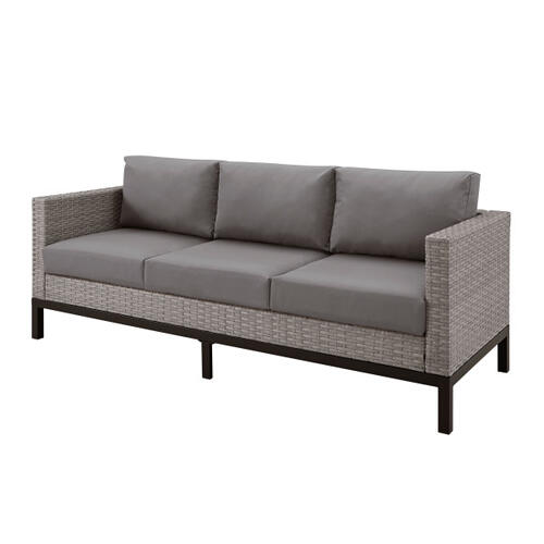 Metal Leg Wicker Finish Outdoor Sofa in Driftwood Gray (Component 1 of 2)