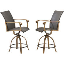 Hanover Hermosa Set of 2 Hand Woven Wicker Bar Chairs with Faux-Wood Accents, HERDNBRCHR-2