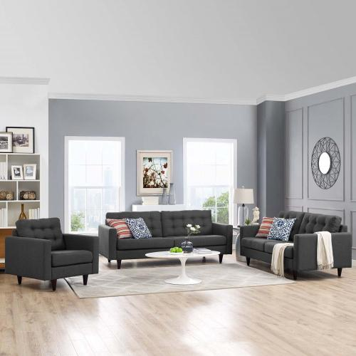 Empress Sofa, Loveseat and Armchair Set of 3 in Gray