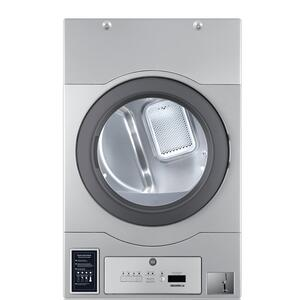 "CROSSOVER 2.0Crossover True Commercial Laundry - 7.0 CF Heavy Duty Bottom Control Gas Dryer, Coin Option Included/Card Ready, Silver, 27"" (Stacked application)"