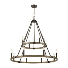Transitions 12-Light Chandelier in Oil Rubbed Bronze and Aspen Finish