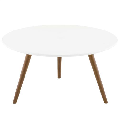 """Lippa 28"""" Round Wood Top Coffee Table with Tripod Base in Walnut White"""