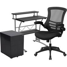3 Piece Office Set - Black Computer Desk, Ergonomic Mesh Office Chair and Locking Mobile Filing Cabinet with Side Handles