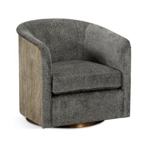 Geometric Dark French Oak Swivel Sofa Chair, Upholstered in Lloyrd