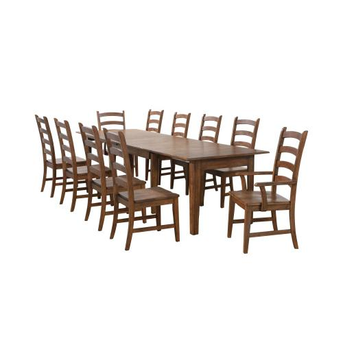 Rectangular Extendable Table Dining Set - Amish (11 Pieces)