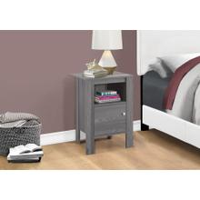 ACCENT TABLE - GREY NIGHT STAND WITH STORAGE