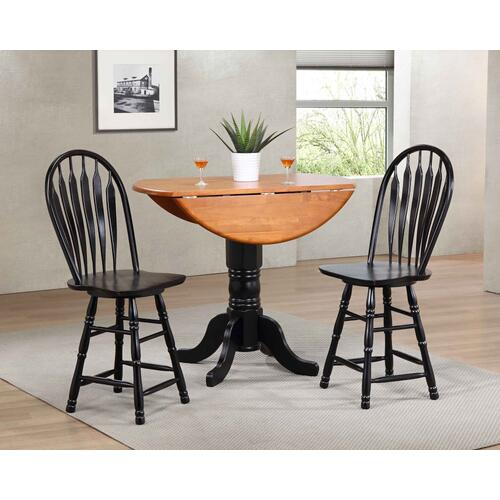 Drop Leaf Pub Table Set w/Swivel Barstools (3 Piece)