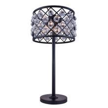 Madison 3 light Matte Black Table Lamp Clear Royal Cut Crystal
