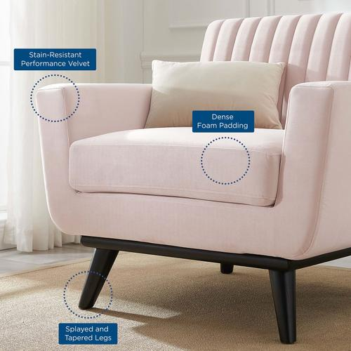 Modway - Engage Channel Tufted Performance Velvet Armchair in Pink
