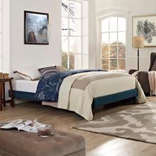 View Product - Loryn Queen Fabric Bed Frame with Round Splayed Legs in Azure