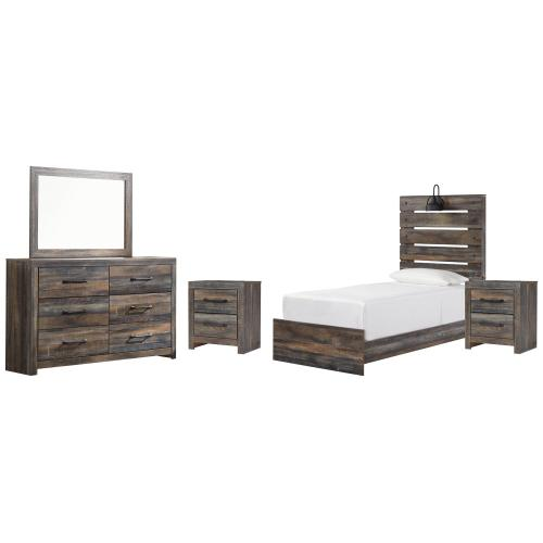 Ashley - Twin Panel Bed With Mirrored Dresser and 2 Nightstands