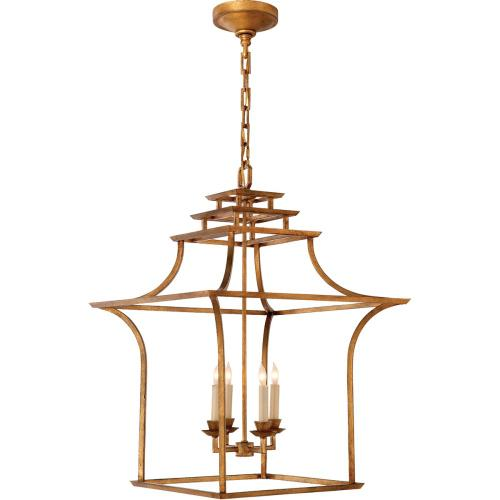 Visual Comfort CHC3444GI E. F. Chapman Brighton 4 Light 20 inch Gilded Iron Foyer Pendant Ceiling Light
