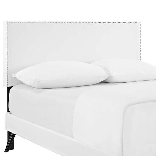 Macie Full Vinyl Platform Bed with Round Splayed Legs in White