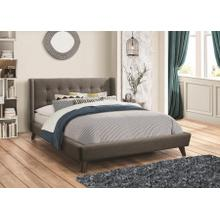 Grey Fabric Full Size Platform Bed Frame
