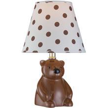 Table Lamp - Bear Ceramic Body/fabric Shade, E27 Cfl 11w