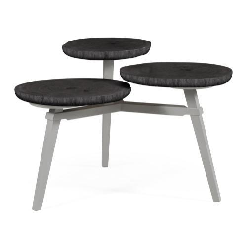 Architectural Three Multi-Layered Circular Black Mocha Oak Oyster Coffee Table