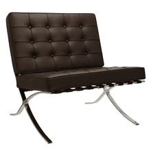 Barcelona Chair - Full Genuine Italian Leather - Reproduction - Dark-brown