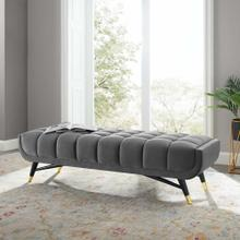 "Adept 60"" Performance Velvet Bench in Gray"