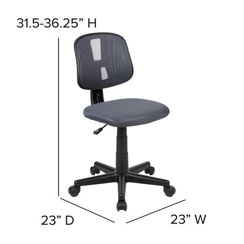 Flash Furniture - Flash Fundamentals Mid-Back Gray Mesh Swivel Task Office Chair with Pivot Back, BIFMA Certified