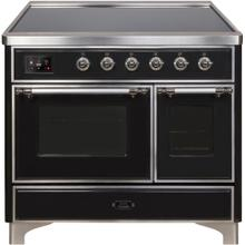 Majestic II 40 Inch Electric Freestanding Range in Glossy Black with Chrome Trim