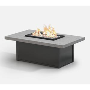 "32"" x 52"" Rectangular Coffee Fire Pit Ht: 19"" Aurora Aluminum Base (Top Color: Drift Frame Finish: Carbon)"