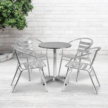 See Details - 23.5'' Round Aluminum Indoor-Outdoor Table Set with 4 Slat Back Chairs
