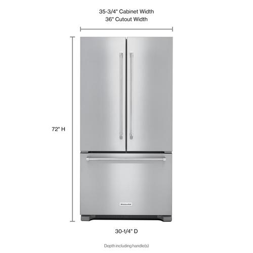 Gallery - 22 cu. ft. 36-Inch Width Counter Depth French Door Refrigerator with Interior Dispense - Stainless Steel