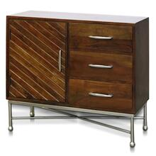JAXSON CABINET  32in w. X 35in ht. X 15in d.  Solid Acacia Wood Three Drawer One Door Cabinet with