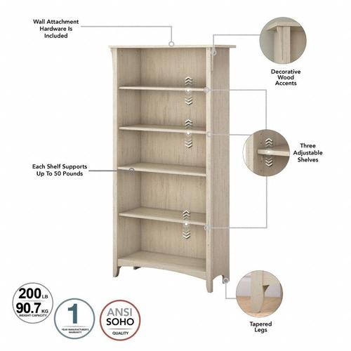 Salinas Tall 5 Shelf Bookcase - Set of 2 - Antique White