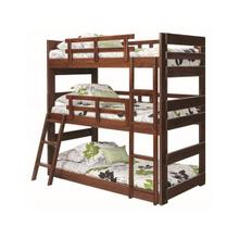 Heartland Twin Triple Bunk Bed with options: Chocolate, Twin over Twin over Twin