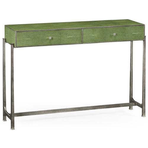 Green faux shagreen silver console