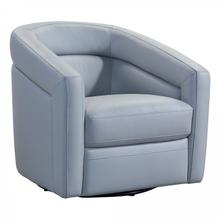 Desi Contemporary Swivel Accent Chair in Dove Grey Genuine Leather