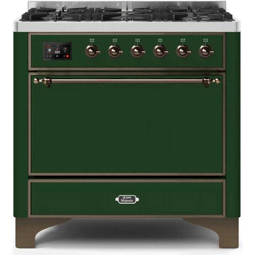 Ilve - Majestic II 36 Inch Dual Fuel Natural Gas Freestanding Range in Emerald Green with Bronze Trim
