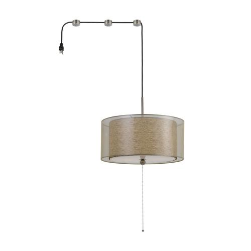 60W X 2 Swag Drum Pendant Fixture With 15Ft Cord With Plug And 3 Cord Hangers
