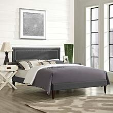 View Product - Virginia King Fabric Platform Bed with Squared Tapered Legs in Gray