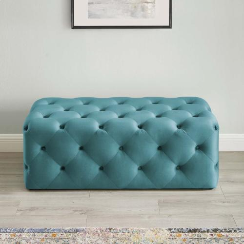 "Amour 48"" Tufted Button Entryway Performance Velvet Bench in Sea Blue"