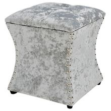 Amelia Velvet Fabric Nailhead Tufted Storage Ottoman, Persian Gray