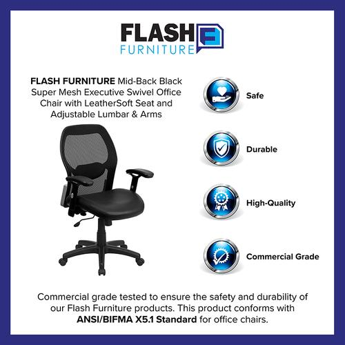 Flash Furniture - Mid-Back Black Super Mesh Executive Swivel Office Chair with LeatherSoft Seat and Adjustable Lumbar & Arms
