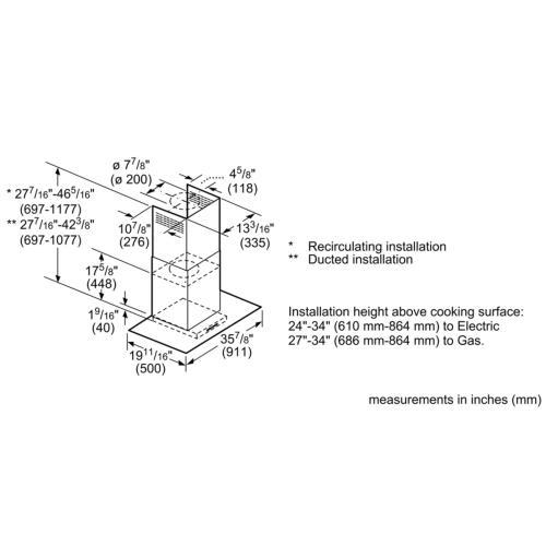 Benchmark® Wall Hood 36'' Stainless steel HCG56651UC
