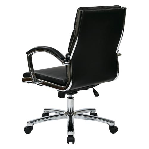 Office Star - Mid Back Executive Black Faux Leather Chair