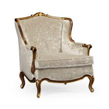 Armchair with gilded carving, upholstered in Calico velvet