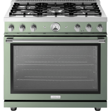 "Range LA CUCINA 36"" Classic Velvet Finishing Sage 5 gas, gas oven"