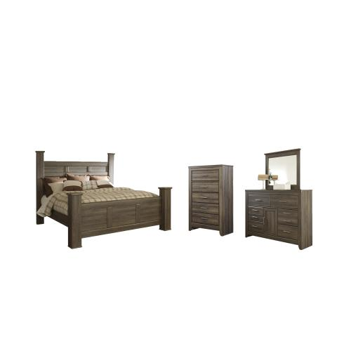 Product Image - King Poster Bed With Mirrored Dresser and Chest