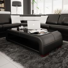 Divani Casa EV30 Modern Black Bonded Leather Coffee Table w/ Glass Top