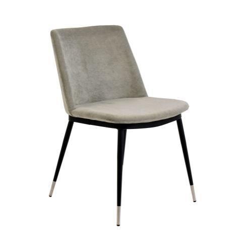 Tov Furniture - Evora Grey Velvet Chair - Silver Legs (Set of 2)
