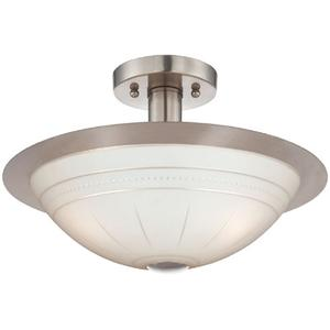Semi-flush Mount Lamp, Ps/frost Glass Shade, E27 G 60wx3