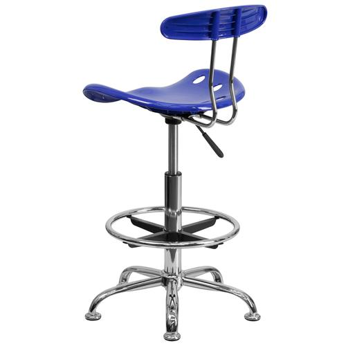 Flash Furniture - Vibrant Nautical Blue and Chrome Drafting Stool with Tractor Seat