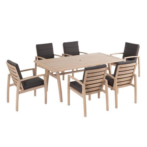 "Maddie 75"" Rectangular Karri Gum FSC KD Dining Table w/ umbrella hole"